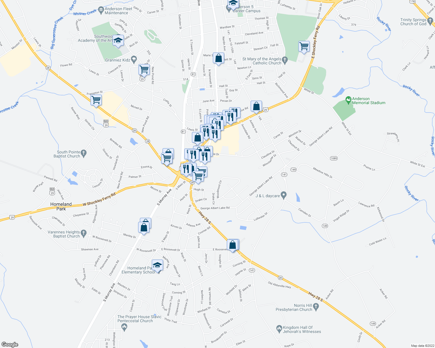 101 Darby Lane  Anderson SC   Walk Score map of restaurants  bars  coffee shops  grocery stores  and more near 101