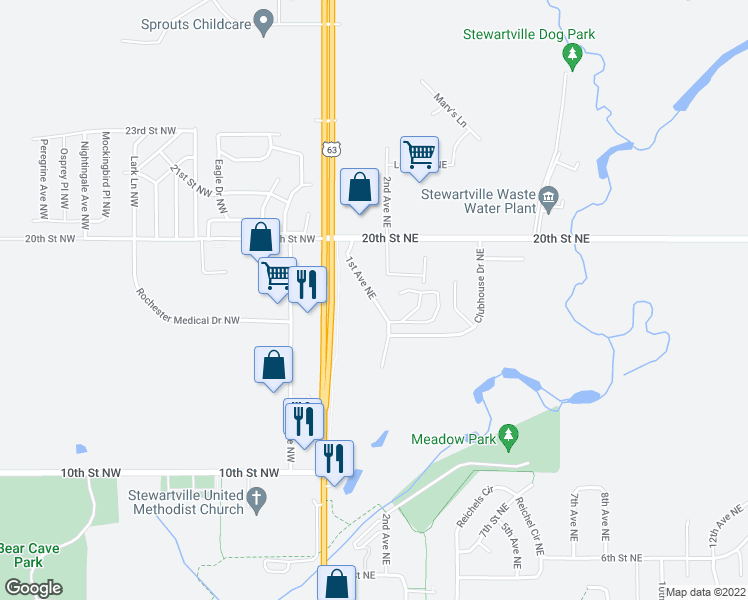 1820 1st Avenue Northeast  Stewartville MN   Walk Score map of restaurants  bars  coffee shops  grocery stores  and more near 1820