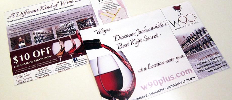 W90+ Wine Postcard Design