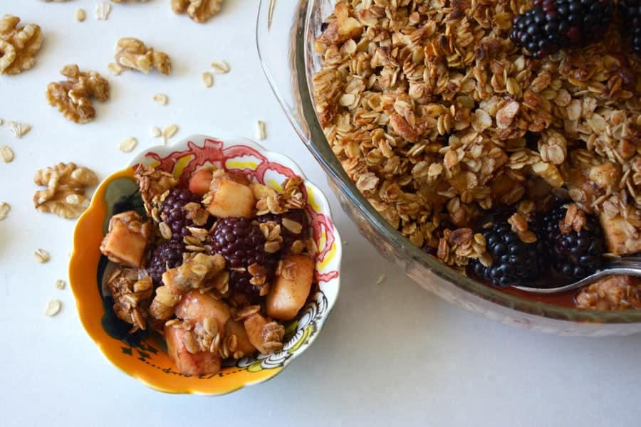 Blackberry, Pear and Apple Crumble