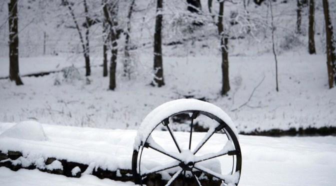 wagon wheels snow trees
