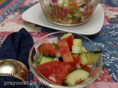Cucumber and Tomato salad plated