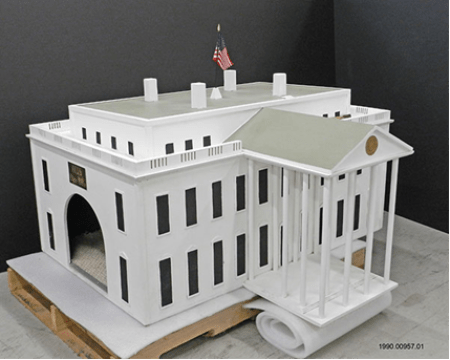 One-of-a-kind doghouse in the shape of the White House, January 1989.