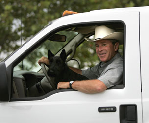 Barney and George W. Bush in truck