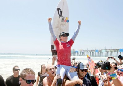 Santa Barbara surfer Lakey Peterson celebrates her victory at the 2012 U.S. Open of Surfing in Huntington Beach. (Lalande/ASP Photo)
