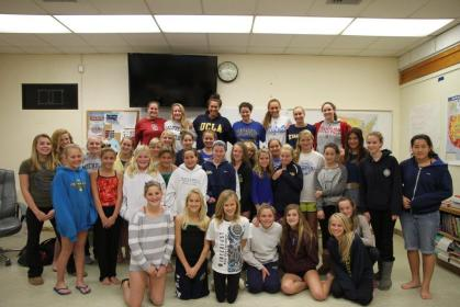 Youth water polo players with the Santa Barbara Aquatics Club spent time with former club players (top row) who are now playing at NCAA Division 1 college programs.