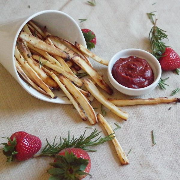 Parsnip fries with strawberry chipotle ketchup If food could behellip