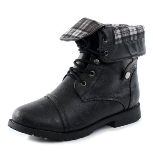 Excellent Black Combat Boots Women Fold Over Womens Black