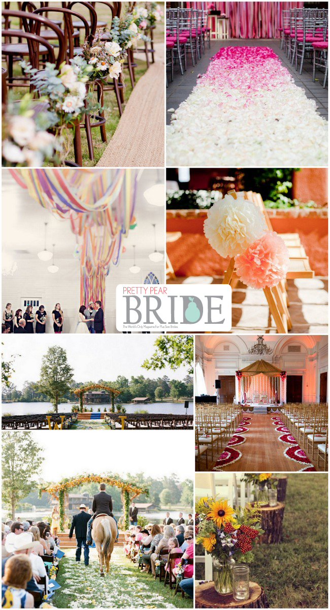 plus size bride, wedding aisle decoration