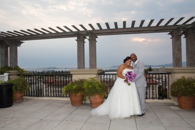 Purple rooftop wedding in california