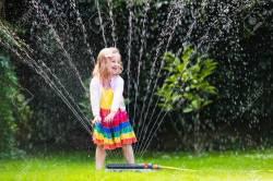 Sweet Outdoor Water Child Playing Garden Preschooler Kid Stock Diy
