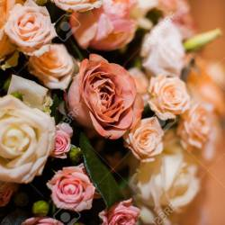 Beautiful Bouquet of Mixed Flowers Close Up Photo Stock Photo