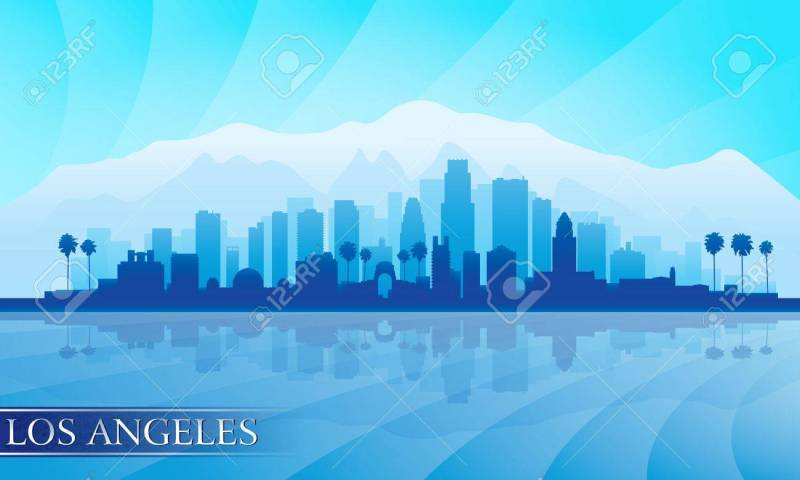 Large Of Los Angeles Skyline Silhouette