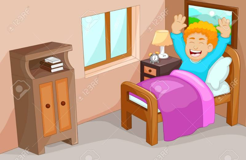 Cute Little Boy Cartoon Wake Up In The Bedroom Stock Vector 71741599