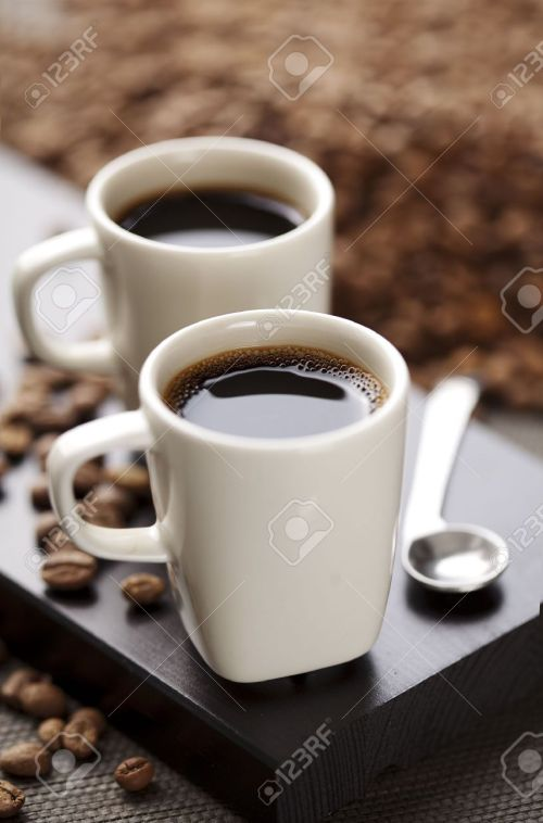 Sterling Stock Photo Two Espresso Cups On A Wooden Table Two Espresso Cups On A Wooden Table Stock Espresso Turkish Coffee Cups