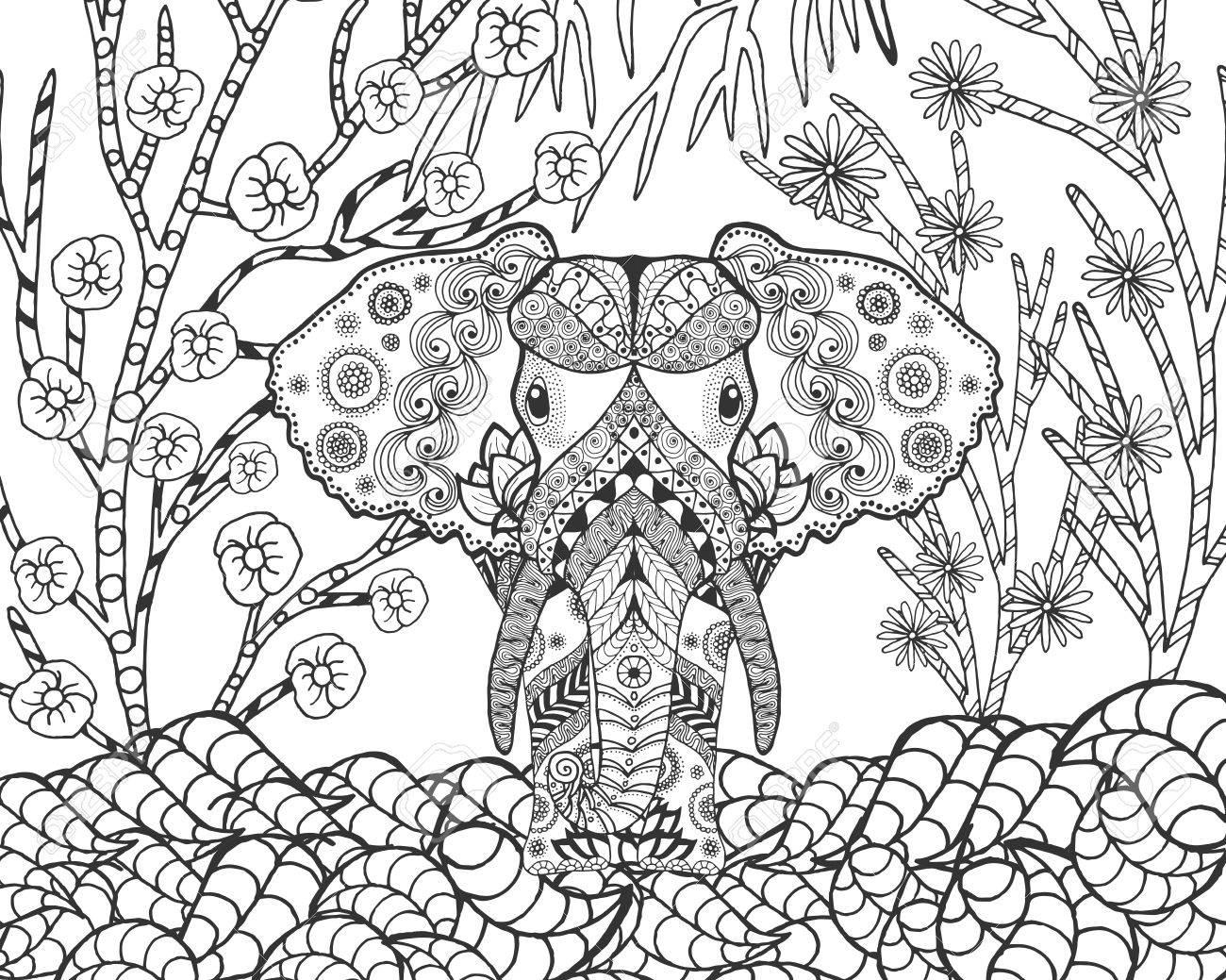 Astounding Fantasy Garden Animals Doodle Ethnic Patterned Illustration African Indian Tote Fantasy Garden Design 52882237 Elephant garden Fantasy Garden Designs