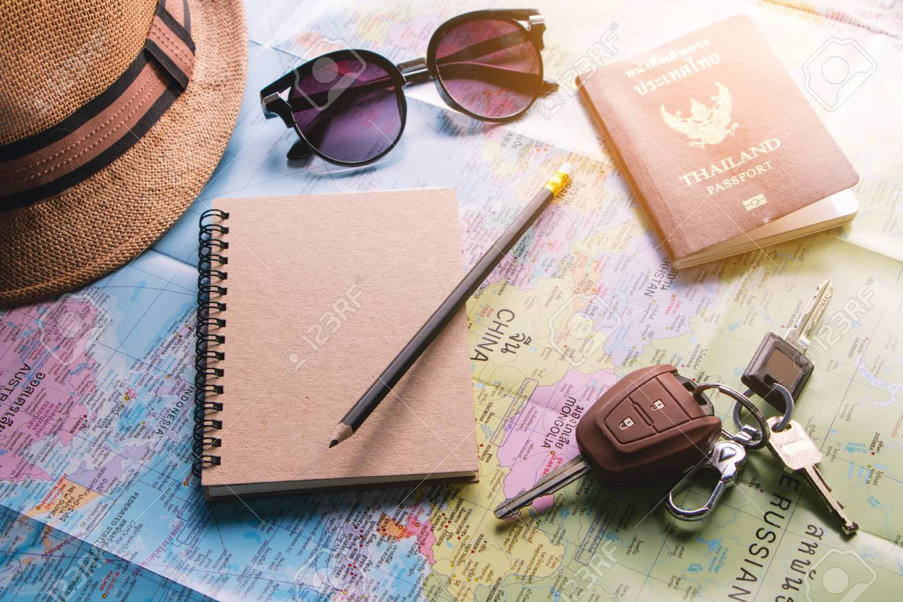Travel Planner Using World Map And Pencil Book To Note Thailand     Stock Photo   Travel planner using world map and pencil book to note  Thailand passport  car key