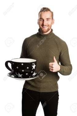 Stupendous Hing A Big Standing Laughing Man Wearing A Green Turtle Neck Sweater Stock Oversized Coffee Mugs Laughing Man Wearing A Green Turtle Neck Sweater