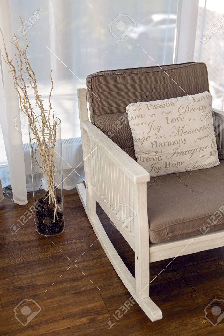 Calmly Stock Photo Rocking Chair Interioragainst Curtains Rocking Chair Brown Cushion Brown Cushion Interior Against houzz-03 White Rocking Chair