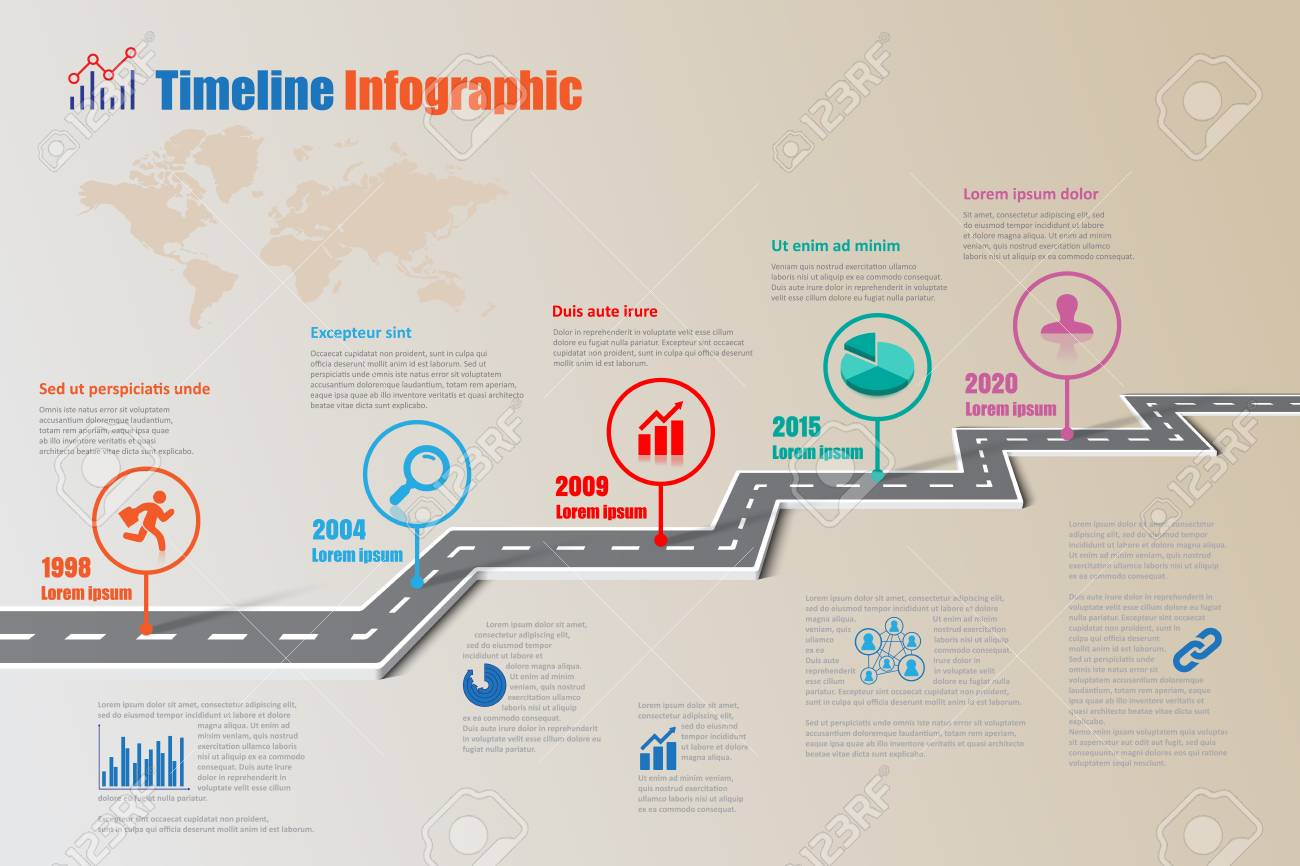 Design Template  Road Map Timeline Infographic Brochure Diagram     Design template  road map timeline infographic brochure diagram planning  presentation process webpages workflow  Vector