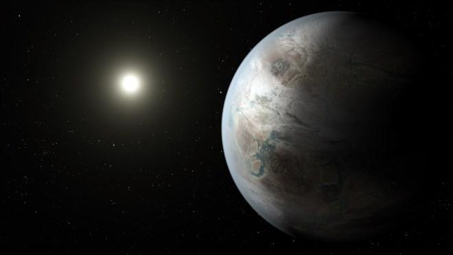 Representación artística de Kepler 452-b. Vía NASA.
