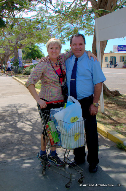 Our tour leader Nadia Eckhardt and our driver Luise stocking up on water and snacks. Luise not only spent hours during the day driving, but had to log his trip every evening as well.
