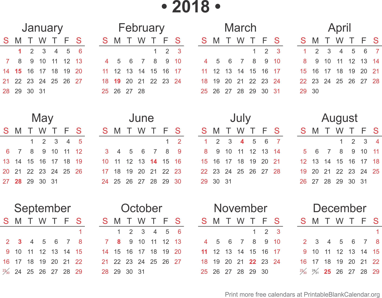 2018 Free Annual Calendar Template - Printable Blank Calendar.org
