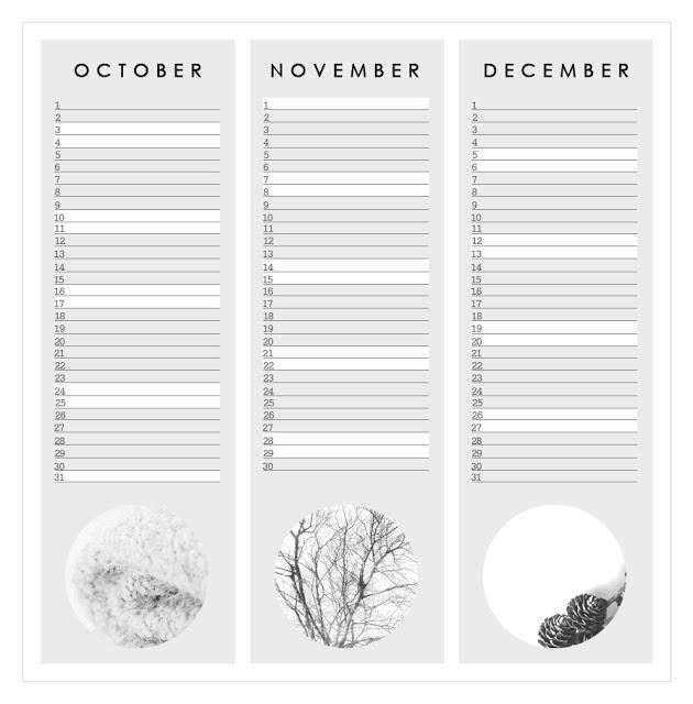 October November December 2015 3 months blank printable calendar