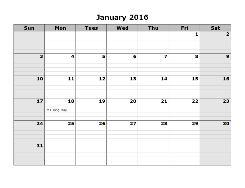 Printable calendar for January 2016