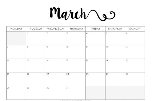 march month 2016 printable printable calendar templates