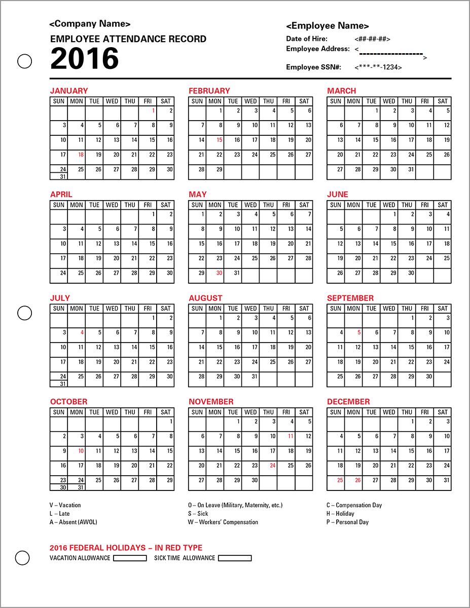 employee attendance calendar 2016 tracker templates 2016 employee attendance templates 2016 printable employee