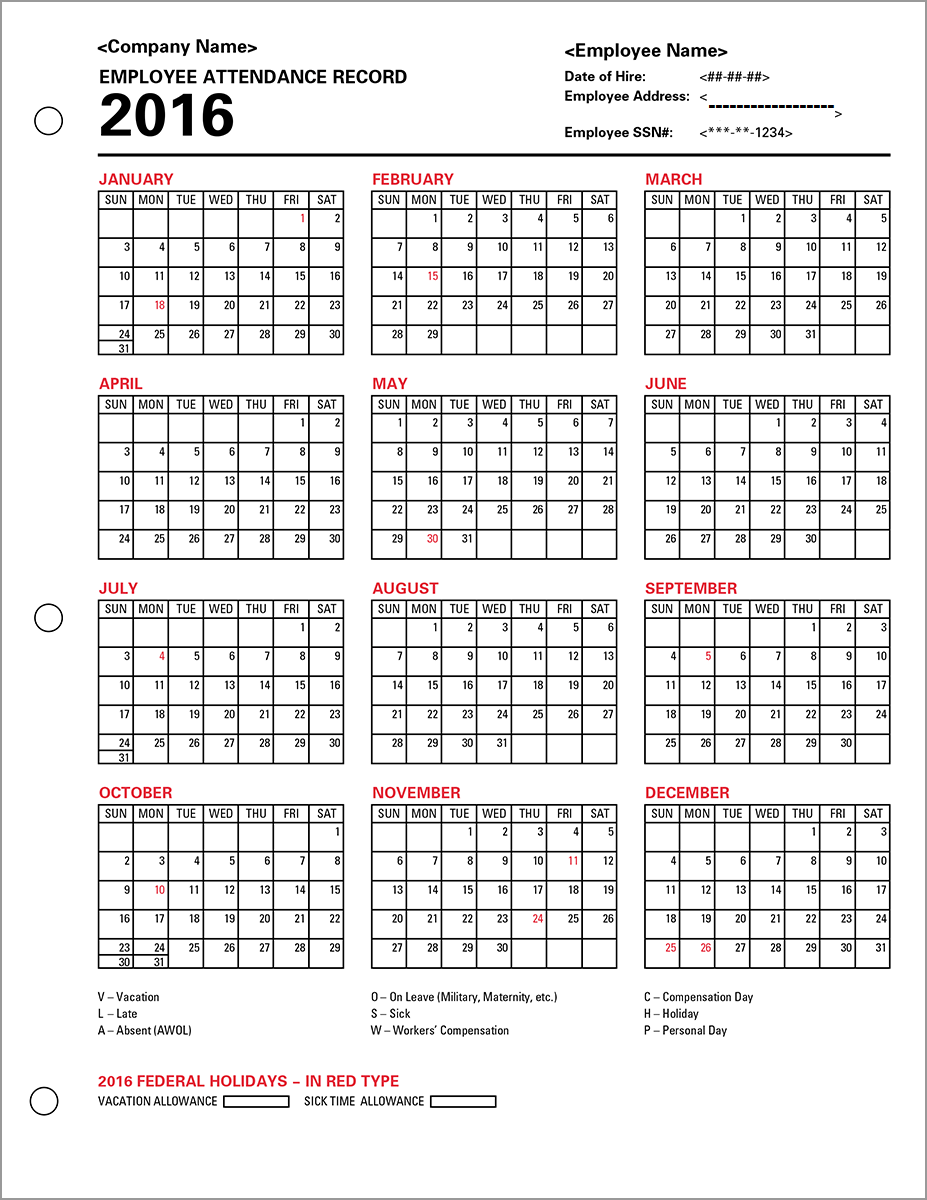 Employee Attendance Calendar | Tracker Templates 2016 | Printable ...