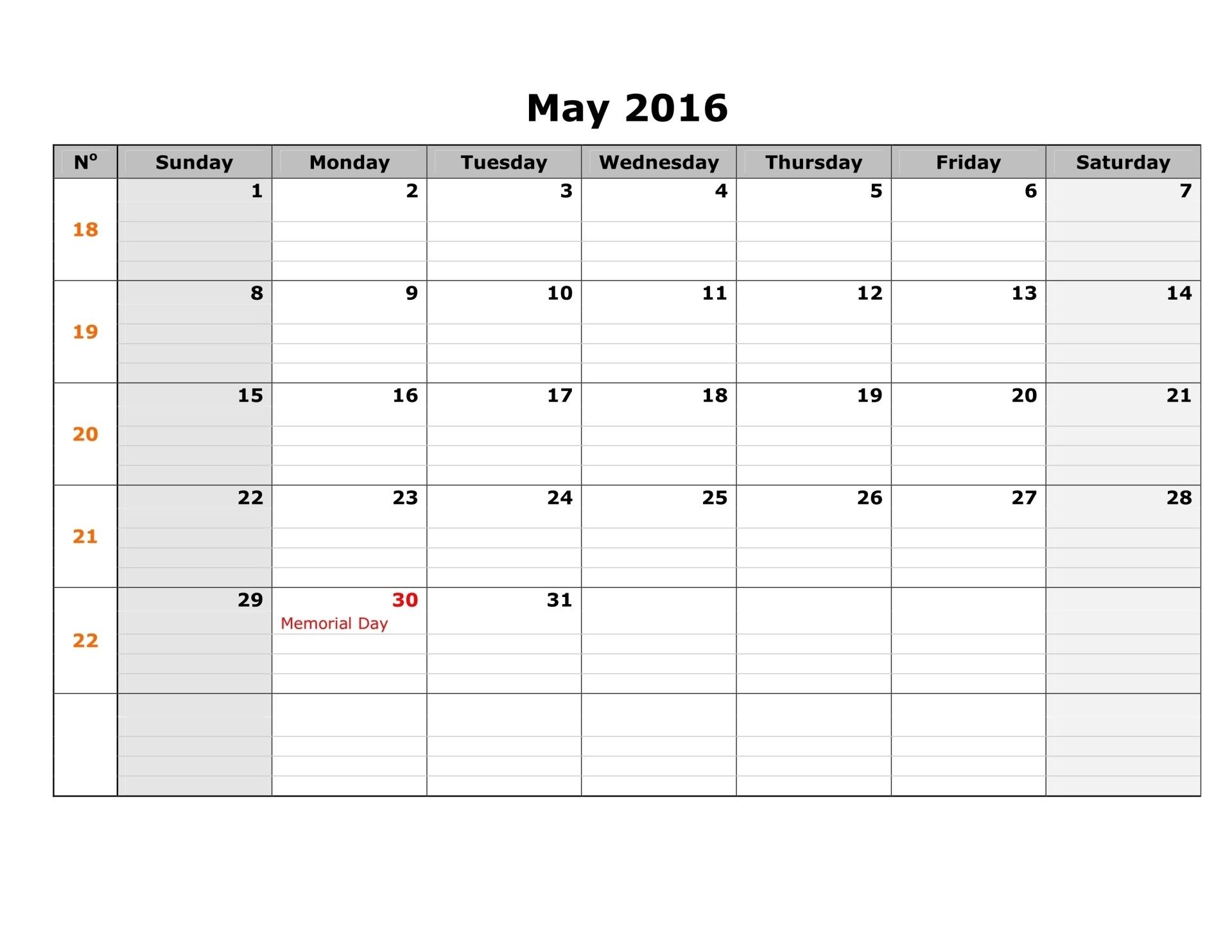 May 2017 Weekly Printable Calendar Blank Templates Printable