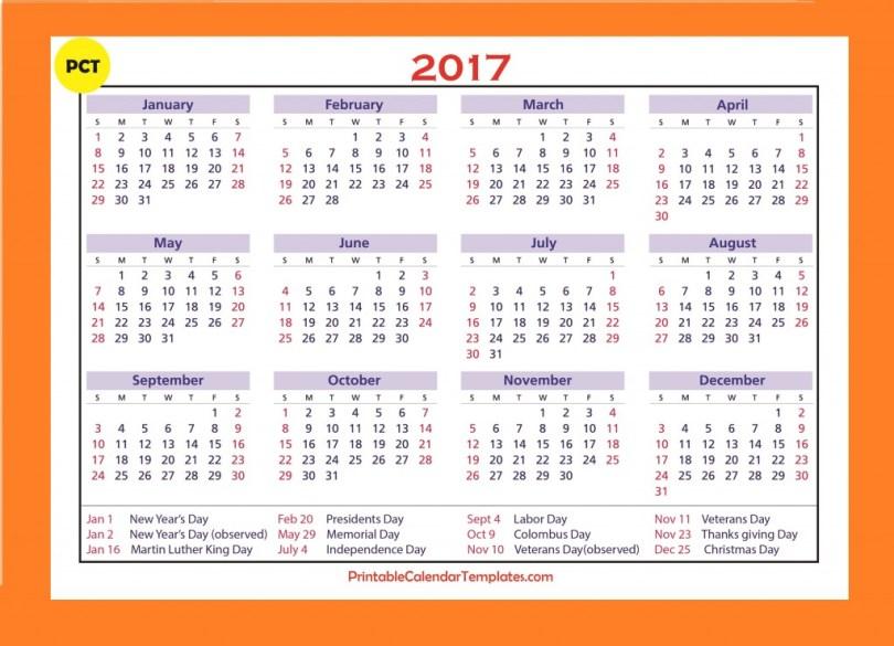 2017 Yearly calendar