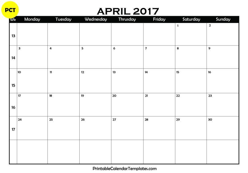 april 2017 Blank Calendar