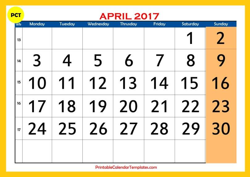 april 2017 Printable calendar