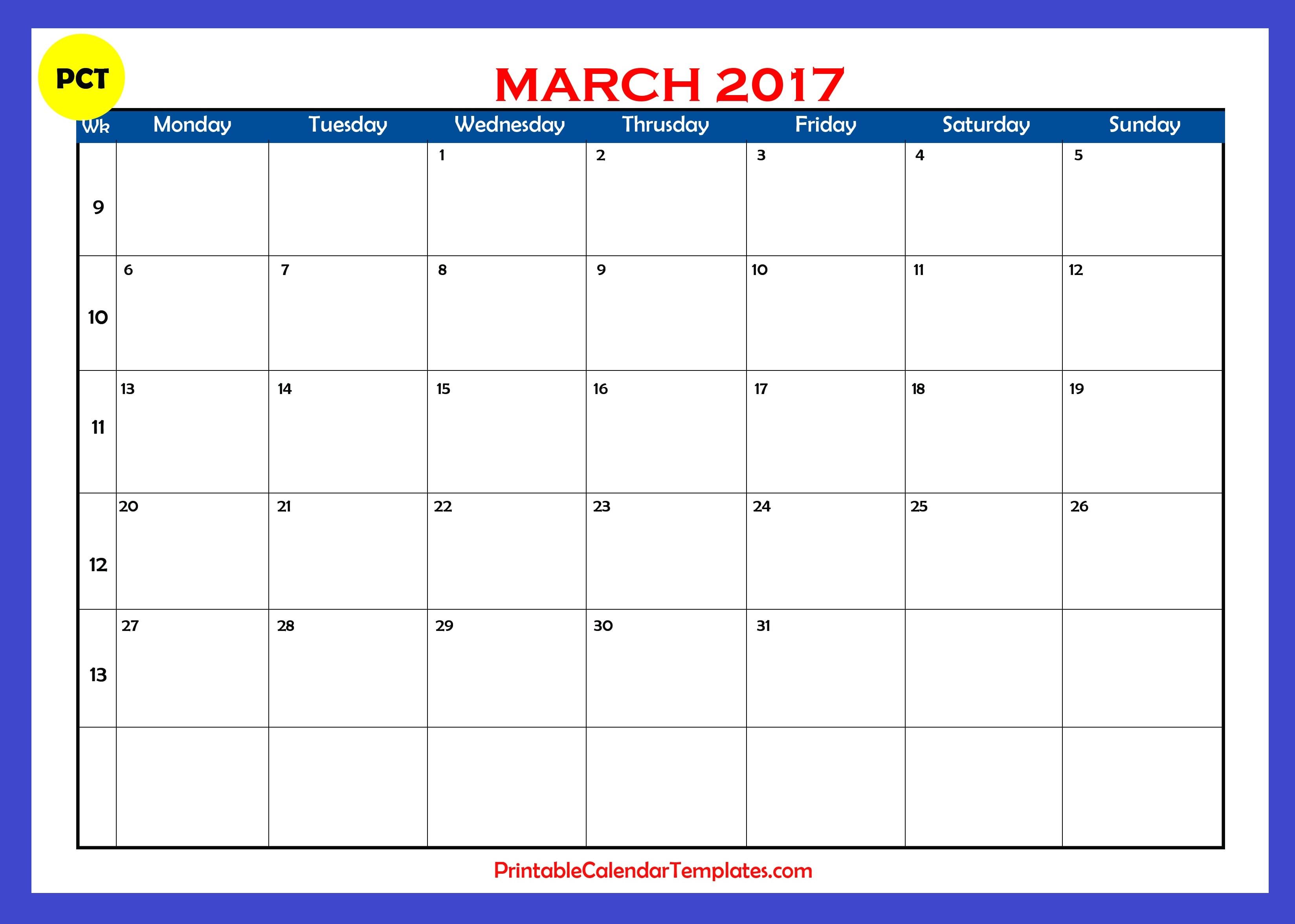 march blank calendar