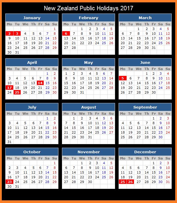 New Zealand Events, Holidays to New Zealand, nz Calendar, 2017 New Zealand calendar