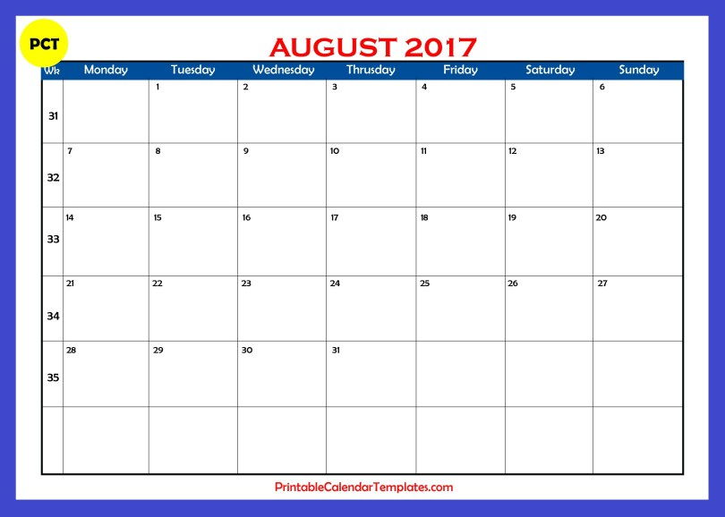 August 2017 calendar with holiday