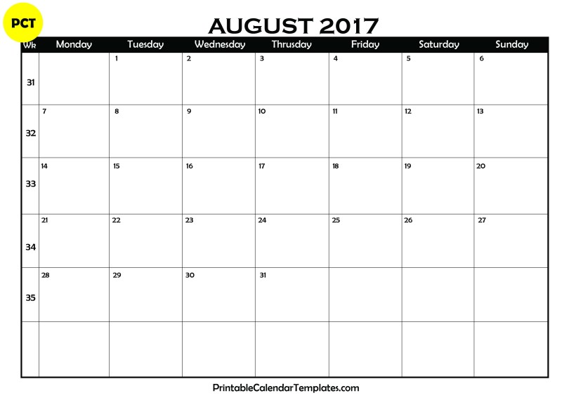August 2017 Blank Calendar