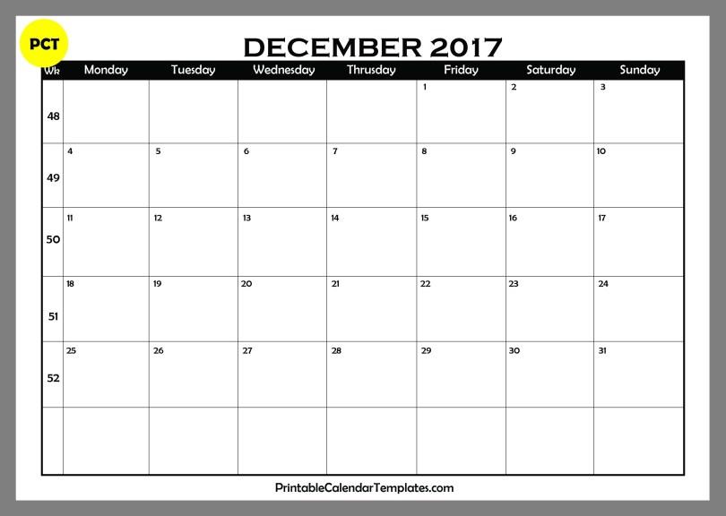 December 2017 Blank Calendar PDF