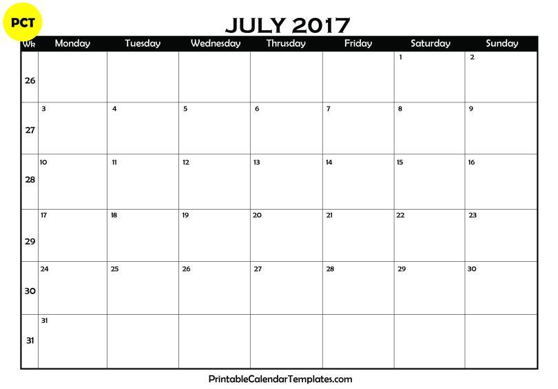 july 2017 Blank Calendar