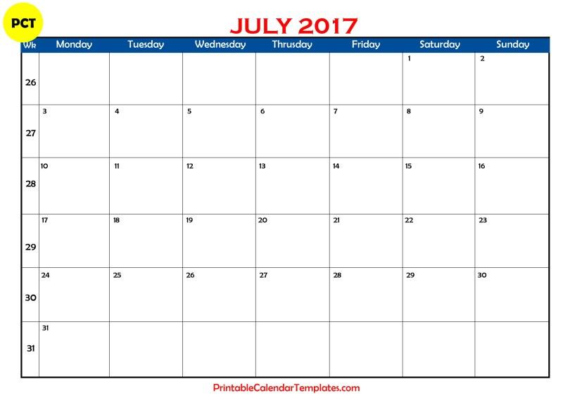 Free july 2017 Printable calendar