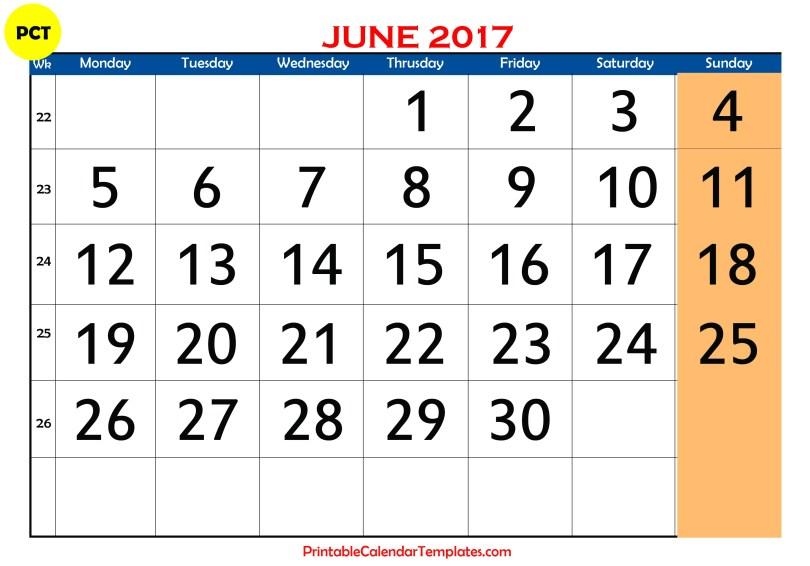 june 2017 Printable calendar PDF