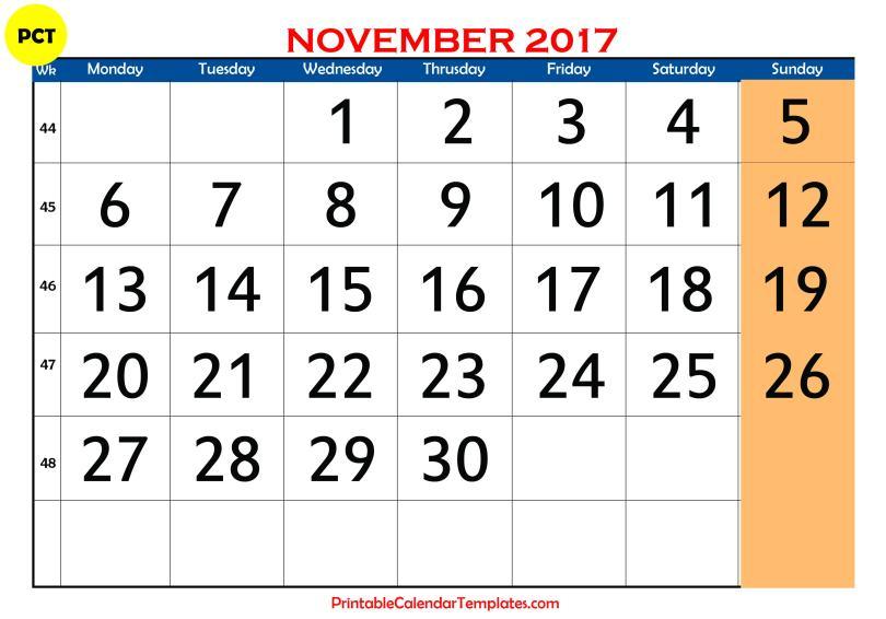 November 2017 Printable calendar