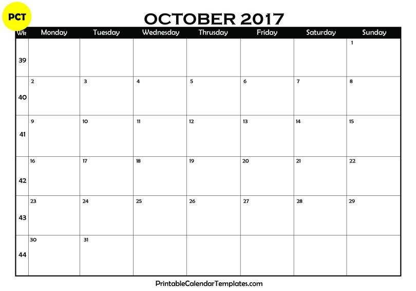 October 2017 Blank Calendar