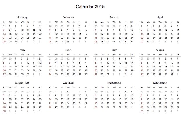 2018 Calendar Template, Printable 2018 Calendar