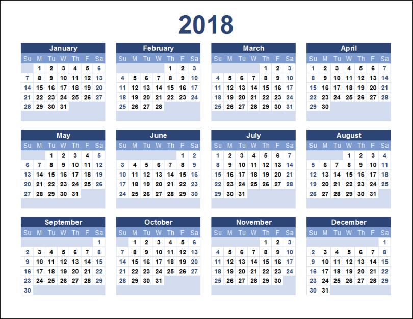 2018 Calendar Printable, Printable Calendar 2018 Template