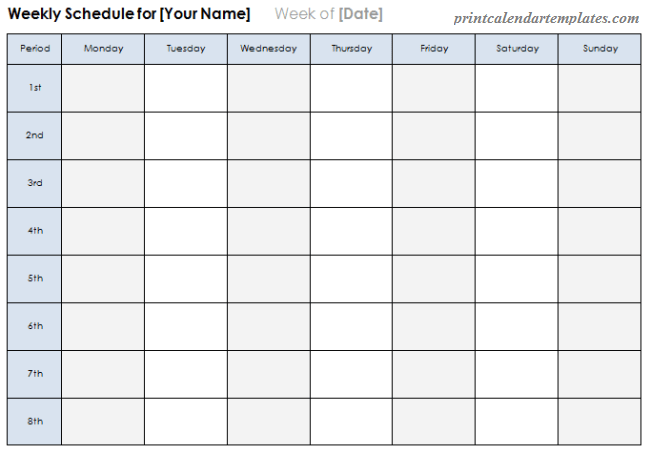 weekly planner 2018 template