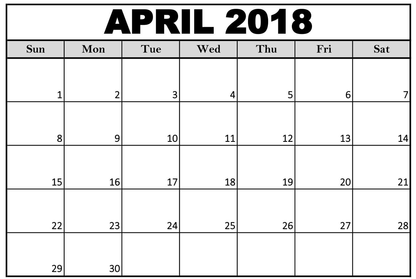 April 2018 Printable Calendar Word Printable Calendar Templates